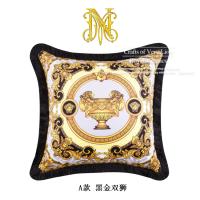 欧式复古简约样板间抱枕家居沙发床头靠垫双面印含芯软装 A款 黑金双狮(含枕芯) 50X50cm(含芯)
