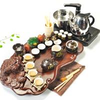 20180402153152566功夫紫砂茶具套装家用茶盘整套陶瓷茶杯科技木电磁炉茶台茶道 33件