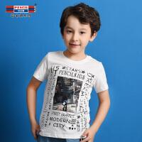 【3件2折价:23.8】铅笔俱乐部童装2019夏季新款男童T恤短袖中大童圆领印花T恤男童T