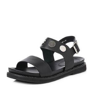 BASTO/百思图2018夏季专柜同款牛皮休闲露趾方跟女凉鞋AL701BL8