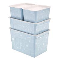 收纳箱塑料整理箱加盖手提储物箱玩具零食收纳盒储物箱三件套