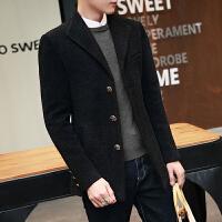 短款风衣男韩版学生冬季修身西装领青年帅气毛呢外套男短款英伦风