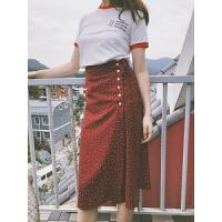 法式风情酒红复古波点仙女显瘦高腰海边沙滩度假裙裹式半身裙长裙
