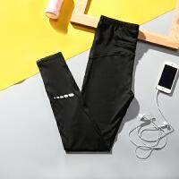 瑜伽运动裤健身裤女弹力紧身跑步裤速干透气修身显瘦大码九分裤夏 黑色 S 85-100送无痕内裤