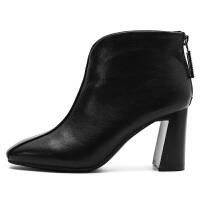短靴女粗跟2018新款春秋季方头裸靴黑色秋靴高跟踝靴矮靴短筒靴子