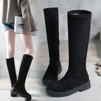 欧洲站2018秋冬新款平底长靴女高筒马丁靴长筒靴骑士靴女靴子