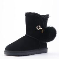 冬季新款baby同款毛球雪地靴女短靴凯琳可爱学生保暖鞋