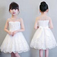 夏季儿童白婚纱礼服裙子女童连衣裙中大童公主裙演出服