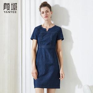 颜域中长款半开领牛仔连衣裙女复古修身显瘦2018夏季新款女装裙子