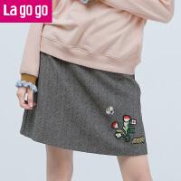 【618大促-每满100减50】Lagogo2017秋冬季新款纯色复古时尚刺绣显瘦半身裙女休闲短款裙子