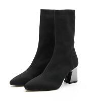 袜子靴女2018秋冬新款欧美女鞋粗跟毛线针织弹力靴高跟中筒靴女靴 黑色(春秋款)