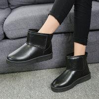 秋冬季新款加绒雪地靴女短靴加厚防滑短筒女靴子平底保暖学生棉鞋 黑色 皮面