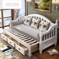 ZUCZUG欧式实木沙发床多功能推拉两用1.2米1.5米小户型客厅折叠沙发床