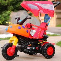 W 儿童多功能电动摩托三轮车婴儿手推脚踏车可坐可骑宝宝电瓶玩具车