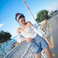 套装女夏季新款2018韩版时尚百搭休闲一字领上衣+牛仔热裤短裤潮