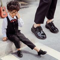 2018夏季男童黑色皮鞋单鞋儿童英伦风宝宝小学生花童男孩演出鞋