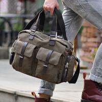 帆布包斜跨男包包旅行包韩版男士包单肩包手提包休闲包斜挎包大包SN6213