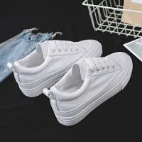 春季新款内增高帆布鞋女韩版学生休闲鞋网红街拍皮面小白鞋