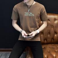 男装短袖T恤夏天2018潮男青年上衣服 韩版个性短轴加大码汗衫 咖啡色 短袖 X