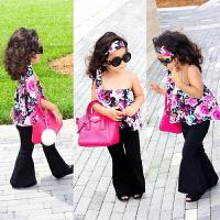INS夏款中小童女装时尚欧美女童三件套休闲儿童发带上衣喇叭裤潮