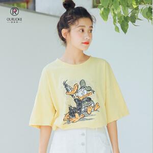 欧若珂  2018夏季韩版小清新上衣学院风短袖T恤