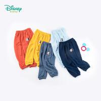 【99元3件】迪士尼Disney童装 男童米奇印花防蚊裤夏季新品清凉透气空调裤儿童长裤