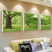 客厅装饰画沙发背景墙挂画北欧三联壁画现代简约餐厅抽象油画绿树