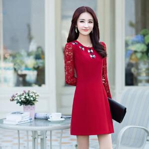 2018秋季新品女装韩版时尚修身气质长袖连衣裙