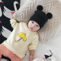 婴儿衣服秋装新生儿纯棉上衣幼儿外出长袖1-3岁2男女宝宝卫衣