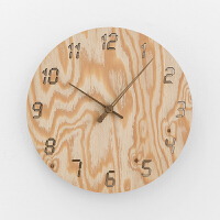 钟表挂钟客厅现代创意时钟简约家用卧室静音实木田园挂表 12英寸