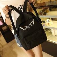 韩版新款个性帆布印花天使翅膀双背女士包中学生包书包女包休闲包