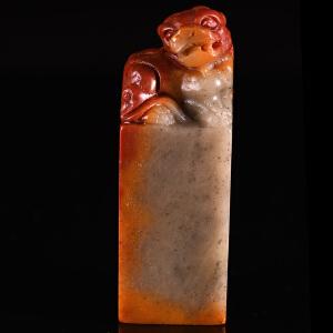 寿山石《螭虎正方章》天然寿山石精雕
