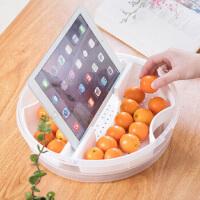 白领公社 果盘 塑料 家用创意带盖沥水果盘多功能分格塑料点心干果盒瓜子糖果水果拼盘