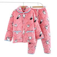 法兰绒睡衣女冬季三层加厚休闲家居服夹棉保暖加绒可爱珊瑚绒套装