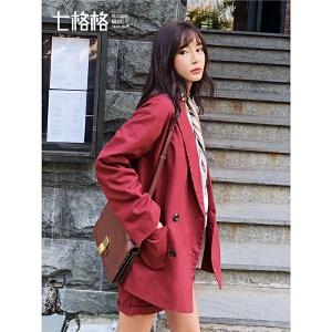 七格格复古chic小西装外套女装2019新款春季红色韩版宽松休闲西服