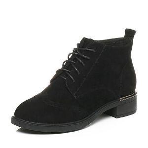Tata/他她2017冬黑英伦雕花绑带休闲靴方跟女皮靴20668DD7