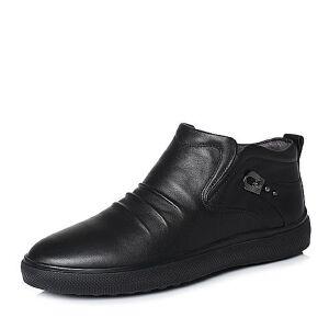 Teenmix/天美意2017冬专柜同款黑色牛皮褶皱舒适平跟男低靴(绒里)66H40DD7