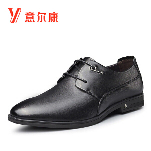 意尔康男鞋2018秋新商务正装系带绅士皮鞋婚鞋皮鞋