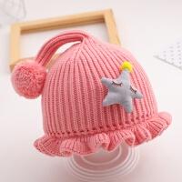 女宝宝帽子冬季婴儿毛线帽3-6个月12男童女童1岁花边包头帽针织帽 均码
