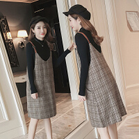 新款潮妈针织毛衣背带连衣裙两件套冬孕妇春装套装2018