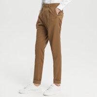 【1件2.5折到手价:98.8】MECITY男装春秋羊毛裤脚卷边复古休闲长裤