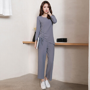 风轩衣度 套装/套裙舒适修身纯色气质韩版简约宽松2018年春季新款 G07