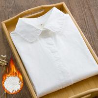 春装白衬衫女加绒保暖衫长袖元宝领圆领打底衫衬衣女内搭修身 加绒