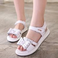 女童凉鞋新款夏季真皮大码公主小白色