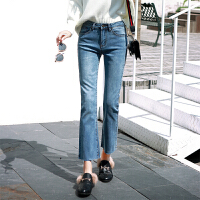 微喇叭裤女高腰阔腿春季显瘦裤子九分牛仔裤