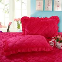 韩版法莱绒枕套一对春秋纯色珊瑚绒加厚夹棉单人花边枕头套子 48cmX74cm