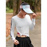 运动上衣女长袖t恤速干衣宽松户外跑步瑜伽服舞蹈健身衣秋