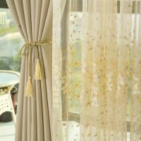 韩式田园清新刺绣花窗帘成品全遮光定制飘窗卧室客厅窗帘窗纱