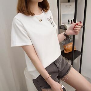 2018夏季新款宽松显瘦短袖T恤女刺绣打底衫半袖韩版百搭体恤上衣