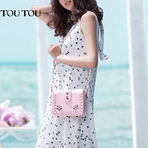 toutou2017夏天新款女包韩版个性时尚铆钉单肩时尚粉色小方包